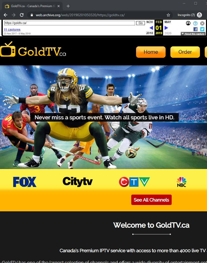GoldTV.ca screenshot by archive.org dated 2019 Feb 1